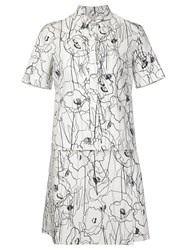 Jason Wu Scribble Flower Print Shirt Dress White