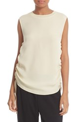 Vince Women's Rib Trim Ruched Silk Tank Bleached