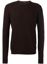 Roberto Collina Patterned Crew Neck Jumper Brown