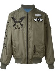 Pam Perks And Mini Logo Patch Bomber Jacket Green