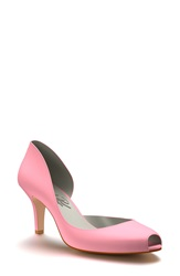 Shoes Of Prey Half D'orsay Peep Toe Pump Women Pink Silk