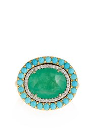 Irene Neuwirth Diamond Emerald Turquoise And Yellow Gold Ring