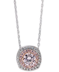 Giani Bernini Pink Cubic Zirconia Pendant Necklace In Sterling Silver And 18K Rose Gold Plating Only At Macy's Two Tone