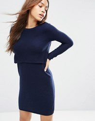 Asos 2 In 1 Knit Dress In Cashmere Mix Navy