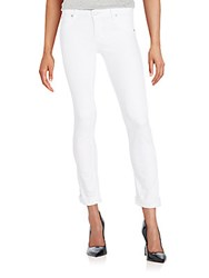 Hudson Cropped Straight Leg Jeans White