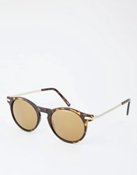 Monki Round Sunglasses Tortoise Brown