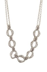 Lois Hill Sterling Silver Double Chain Cutout And Granulated Necklace Metallic