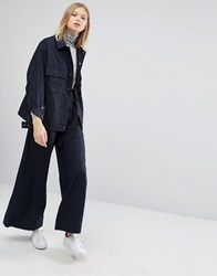 Native Youth Wide Leg Trousers In Pin Stripe Co Ord Navy Pinstripe