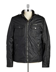 William Rast Faux Leather Moto Jacket Black