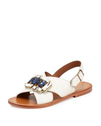 Marni Jeweled Calf Hair Crisscross Flat Sandal Natural White Women's Size 42.0B 12.0B