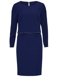 Gina Bacconi Crepe Dress With Beaded Overtop Navy