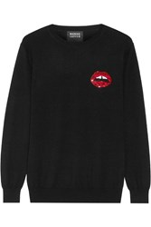 Markus Lupfer Lara Lip Natalie Sequin Embellished Merino Wool Sweater Black