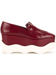 Paloma Barcelo Scalloped Platform Loafers Red