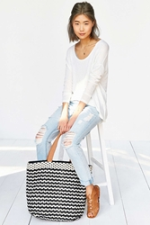 Bdg Striped Xl Woven Tote Bag Neutral
