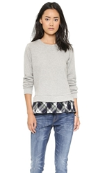 Clu Ruffled Plaid Sweatshirt Heather Grey Navy Plaid
