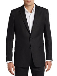 Versace Regular Fit Tonal Striped Linen Sportcoat Black