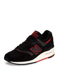 New Balance Men's 997 Explore By Air Suede Sneaker Black Red Black Red