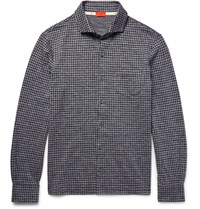 Isaia Slim Fit Gingham Cotton Flannel Shirt Blue