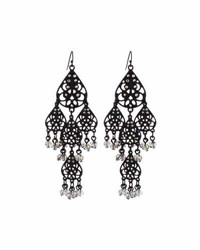 Lydell Nyc Filigree Teardrop Crystal Chandelier Earrings Black