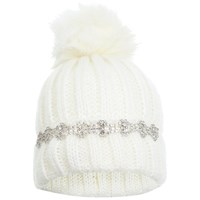 Miss Selfridge Embellished Beanie Hat White