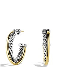 David Yurman Crossover Small Hoop Earrings With Gold Silver Yellow Gold