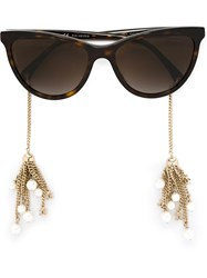 Chanel 'Pearl' Sunglasses Brown