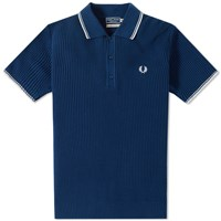 Fred Perry Reissues Textured Knitted Polo Blue