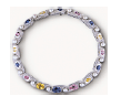 Fabio Salini Necklace Vertigo With Colored Sapphires Pearls And Mother Of Pearl Silver Blue Yellow