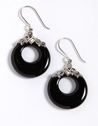 Lord And Taylor Sterling Silver Marcasite Drop Earrings Black