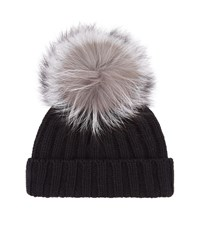 Harrods Of London Fur Pom Pom Hat Unisex Black