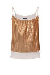 Hotsquash Clever Lined Metallic Pleat Cami Top Copper