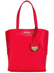 Twin Set Heart Tag Tote Red