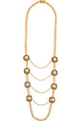 Alexander Mcqueen Gold Tone Faux Pearl And Swarovski Crystal Necklace