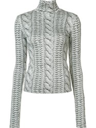 Christian Siriano Cable Knit Printed Roll Neck Top Grey