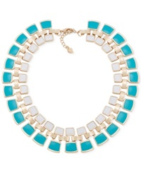 Carolee Gold Tone Bold Stone Collar Necklace Multicolor