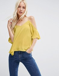Asos Cold Shoulder Cami Top Chartreuse Yellow