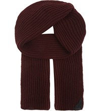 Aspinal Of London Ribbed Merino Wool And Cashmere Blend Scarf Burgundy