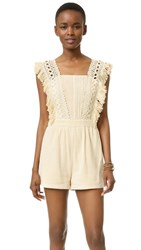 Moon River Lace Trimmed Romper Natural