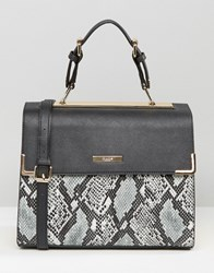 Dune Large Colourblock Tote Frame Bag Snake Black Yellow