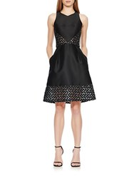 Theia Embroidered Pocket Dress Black