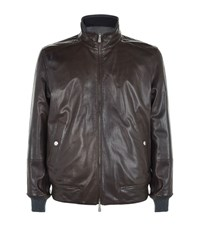 Brunello Cucinelli Reversible Leather And Herringbone Bomber Jacket Male Brown