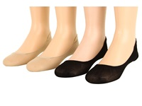 Hue Sheer Liner 4 Pair Pack Black Cream Assorted Women's No Show Socks Shoes