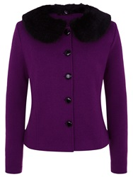 Kaliko Faux Fur Collar Wool Jacket Dark Purple