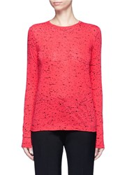 Proenza Schouler Paint Splatter Print Long Sleeve T Shirt Red