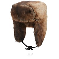 Crown Cap Men's Fur Trapper Hat Tan Blue Tan Blue