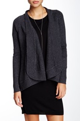 Forte Cable Knit Wool Blend Cardigan Gray