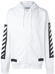 Off White Zipped Hoodie White