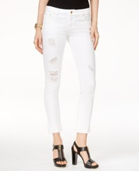 Michael Kors Ripped Cropped Skinny Jeans White