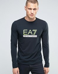 Emporio Armani Ea7 Long Sleeve Top With Large Logo In Navy Navy