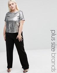 Club L Plus Straight Leg Jumpsuit With Sequin Top Silver